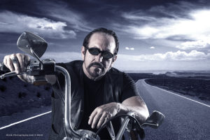 Larry Estrin and his motor cycle © Klick Photography